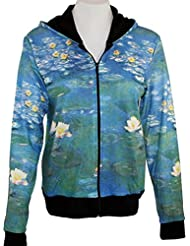 Breeke & Company Water Lilies Hand Silk-Screened, Womens Hooded Top