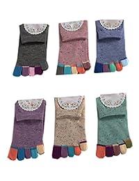 MOHSLEE Women's Cotton Crew Running Athletic Sock Finger Five Toe Socks 6 Pack