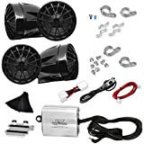 Motorcycle Audio System - 800 Watts Speaker and Amplifier - ATV/Snowmobile Mount - (4) 2.25-Inch Waterproof Speakers, Dual Handlebar Mount Aluminum Die-Cast - Bullet Style Chrome Stainless iPod/MP3 I