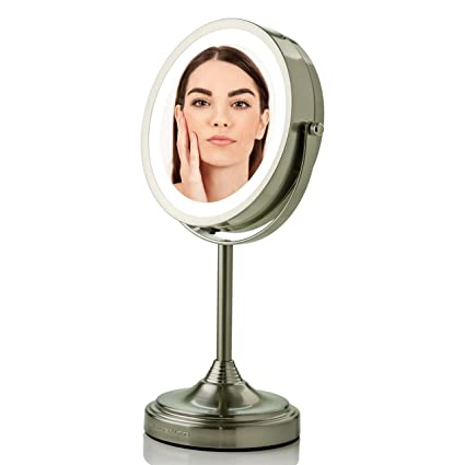 Amazon.com : Ovente Small Table Top Lighted Vanity Makeup Mirror 7 Inch 1 X with 7 X Full View Magnification, White LED Double-Sided and 360 Rotation, 4 AAA Battery Powered Cordless Nickel Brushed MCT70BR1X7X : Beauty