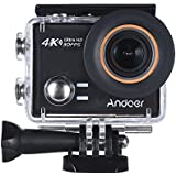 4K Action Camera, Andoer AN100 WIFI Sports Action Video Camera 30MP 1080P/120fps 2.0 IPS Screen 170° Wide Angle Waterproof 45m cam Support Gyro G-sensor FPV External Mic with Hard Case (Black)