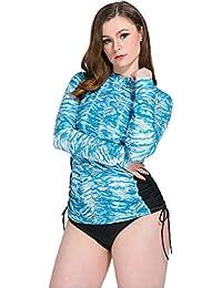 Ababalaya Women's Floral Rash Guard UPF 50+ Long Sleeve Swim Shirt Tops Plus Size