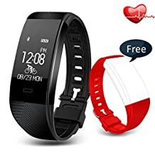 Fitness Tracker iLEPO IP67 Waterproof Bluetooth Smart Bracelet with Heart Rate Monitor Sports Wristband for Pedometers Activity Trackers Call Message Reminder for Android and iOS Black