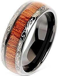 9293d1a553dd Tungsten Rings for Men Wedding Band Koa Wood Inlaid Dome Edge Comfort Fit  Size 6-