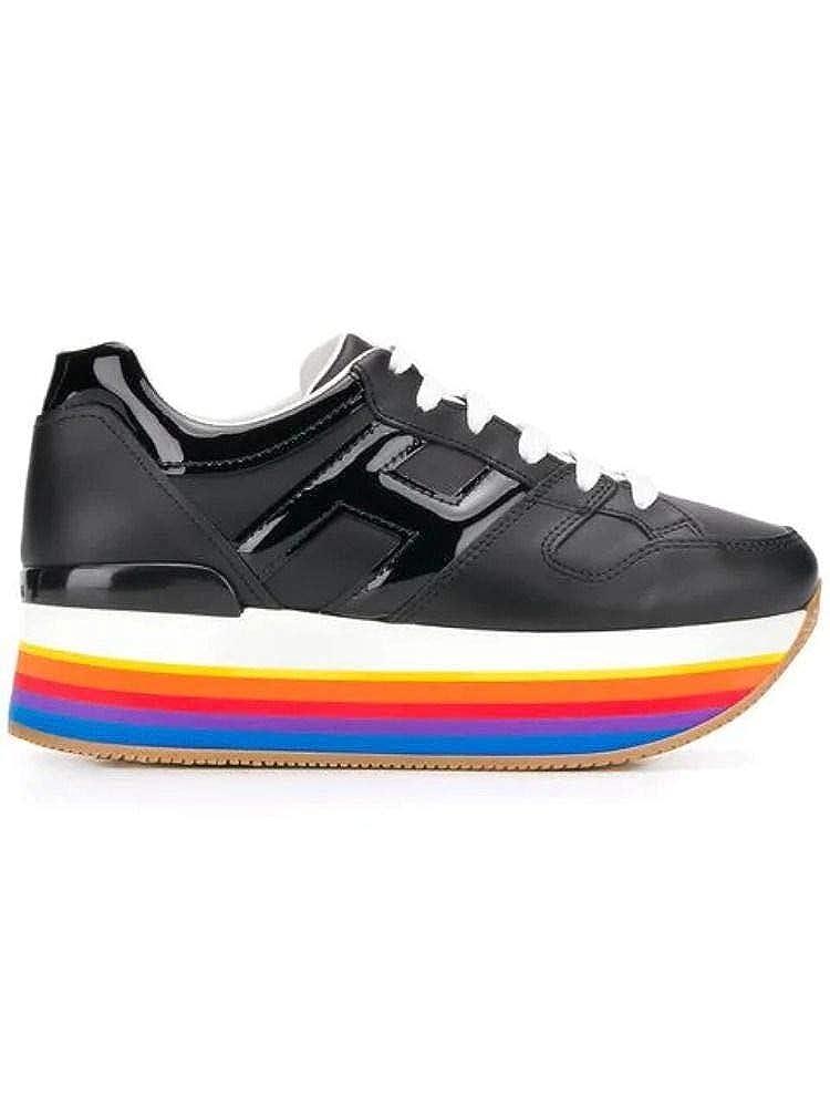 - Hogan Women's HXW4210T548I6SB999 Black Leather Sneakers