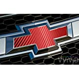 """VVIVID Red Carbon Fibre Auto Emblem Vinyl Wrap Overlay Cut-Your-Own Decal for Chevy Bowtie Grill, Rear Logo DIY Easy to Install 11.80"""" x 4"""" Sheets (x2)"""