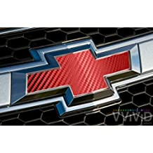 "VVIVID Red Carbon Fibre Auto Emblem Vinyl Wrap Overlay Cut-Your-Own Decal for Chevy Bowtie Grill, Rear Logo DIY Easy to Install 11.80"" x 4"" Sheets (x2)"