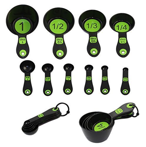 Set of 10 Piece Measuring Spoons and Measuring Cups (Black & Green)