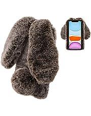 Konijn Hoes voor Samsung Galaxy A41, LCHDA Pluizig Schattige Kunstmatig konijnenbont Haar Leuk Lange Oren Pluche Zacht Harig Warm Siliconen Bumper van TPU Case Beschermende Telefoon Hoesje - Bruin