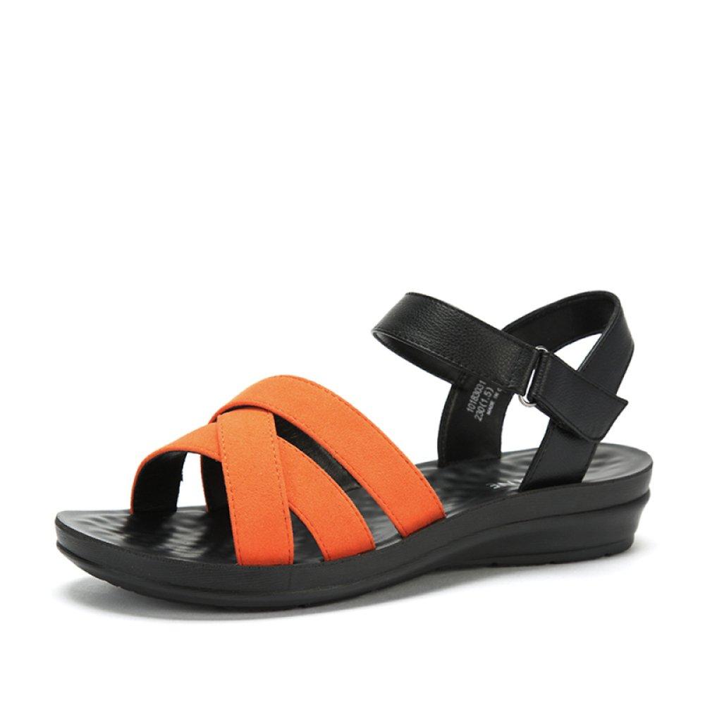 Sandalias De Señora Velcro Sandalias De Velcro Sandalias Ocasionales Unisex Simples Sólidos De Verano UK5.5/EU38|Naranja