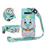Solid Color Matte Silicone Case for Samsung Galaxy S10 Plus with 3D Elephant Zipper Wallet and Lanyard Strap, DasKAn Cute Cartoon Animal Design Soft Shockproof Protective Cover,Blue