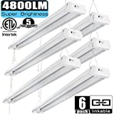 Linkable LED Shop Light 4ft 42W 5000K 4800LM Super Bright, cETLus Certified, Garage Lighting Fixture, with Pull Chain(ON/Off) 5000K (6PK)