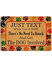 Just Text Us When You're Here No Need to Knock and Get The Dogs Involved Entrance Floor Mat Funny Doormat Door Mat Decorative Indoor Doormat Non-Woven 23.6 by 15.7 Inch Machine Washable Fabric Top