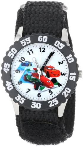 Disney Kids' W001033 Cars Stainless Steel Time Teacher Black Bezel Black Nylon Strap Watch
