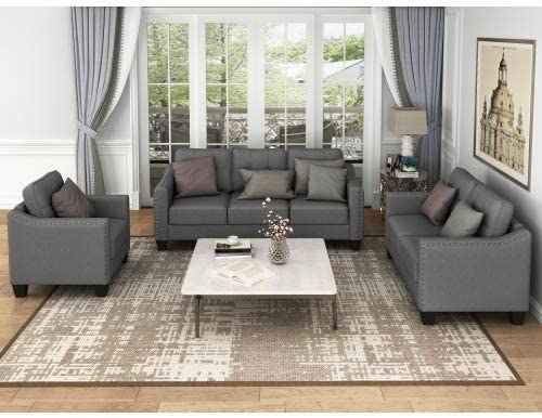 STARTOGOO 3 Piece Living Room Sofa Set Modern Fabric Furniture Upholstered Three Seat Couch Loveseat Single Chair for Bedroom, Office, Apartment, Dorm, Dark Gray