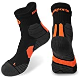 Men's Quarter Socks 2 pack in Coolmax Athletic Seamless Toe Breathable Anti-Microbial & Quick Dry for Hiking Walking Running (Orange 2pair)