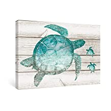 SUMGAR Wall Art for Bathroom Green Sea Turtle Wall Decor Vintage Paintings on Canvas Framed Prints (Turtle 16''x24'')