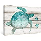 SUMGAR Wall Art for Bathroom Green Sea Turtle Wall Decor Vintage Paintings on Canvas Framed Prints
