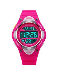 Kids Watch Children Outdoor Sports Digital LED Alarm Waterproof Wristwatch Boys Stopwatch (Pink)