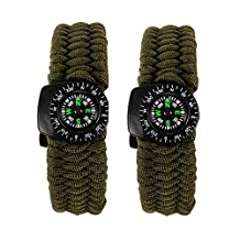 Bcony 2pcs Survival Paracord Bracelet with Compass Flint Fire Starter Scraper knife Whistle Emergency kit