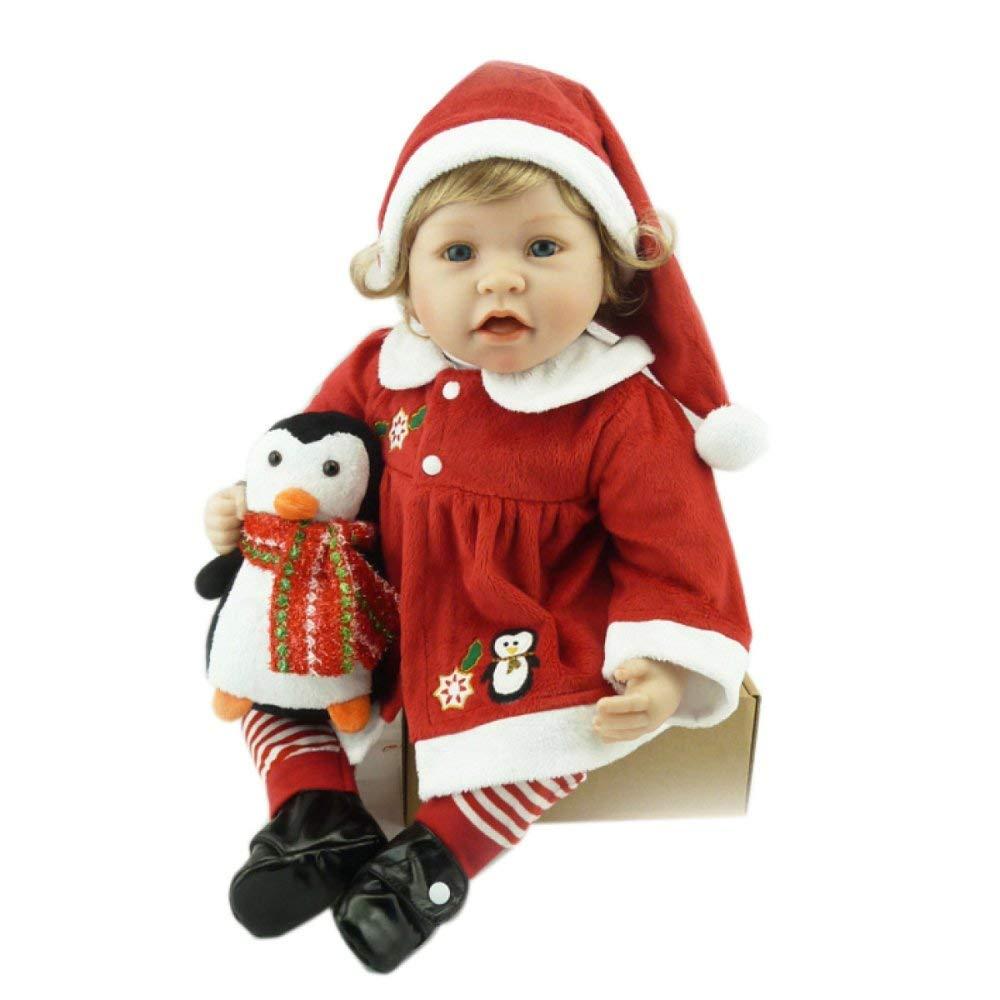 Puppenkissen 22 Zoll Volles Silikon Vinyl Reborn Weißnachten Baby Puppe Realistische Mädchen Babys Puppen 56 cm Lebensechte Prinzessin Kinder Spielzeug Kinder Geburtstagsgeschenk Cartoon-Plüschkissen