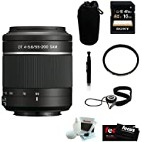 Sony DSLR Alpha SAL-55200/2 (SAL-552002 SAL552002) 55-200MM F/4-5.6 Sam DT Telephoto Zoom Lens with Deluxe Accessory Kit
