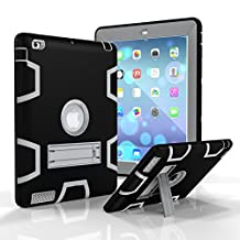 iPad 2/3/4 Case Robot Guard Full-body Shock-Absorption Rugged Slim Silicone Protective Case Cover for 9.7 iPad 2nd / 3rd / 4th Generation - Black/Grey