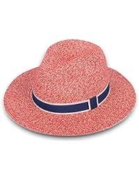 72759689f35 Women Wide Brim Straw Panama Roll up Hat Fedora Beach Sun Hat UPF50+