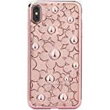 iPhone Case, Daisy Flower Series Skin Case with Bling Diamonds Frame | Ultra Slim Crystal TPU Rubber Protective Skin Cover For iPhone 8 iPhone X Case 4.7 INCH (Transparent Rose Gold, iPhone 7/8)