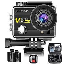 Action Cam 4K 16MP Action Camera WIFI JEEMAK Sport Action Camera Videocamera Impermeabile con Telecomando 2.4G + 2 Batterie + Kit Accessori + Pacchetto Portatile