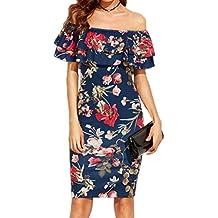 Misaky Women Off Shoulder Dress, Print Straight V-Collar Sleeveless Mini Dress