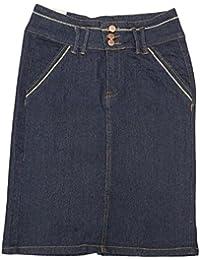 "Women's Stretch Below The Knee Length Denim Skirt 23"""