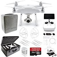 DJI Phantom 4 Professional+ Quadcopter (Includes Display) CP.PT.000549, Ivation Extra Light Custom Molded Hardshell Case for DJI Phantom 4,Transcend 32GB PRO Micro, Prop Guards and Accessory Bundle