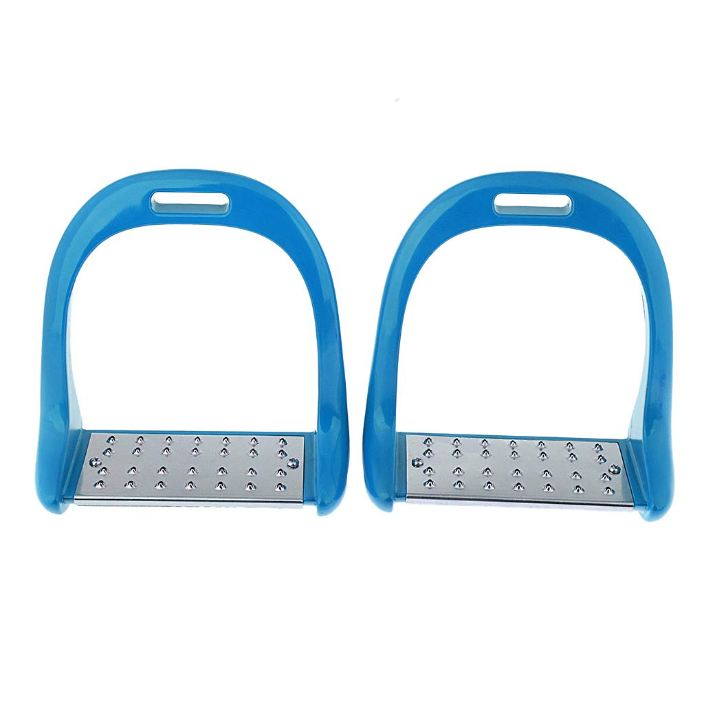 blueee Baosity 1Pair Horse Saddle English Stirrups Horse Riding  4 color