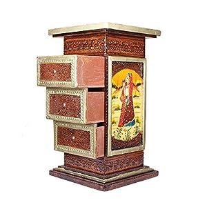 Apkamart Hand Crafted Wooden Side Corner Pillar Cum Almirah Cabinet - 18 Inch Height