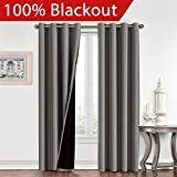 Flamingo P Full Blackout Grey Curtains Faux Silk Satin with Black Liner Thermal Insulated Window Treatment Panels, Grommet Top (52 x 96 Inch, Set of 2)