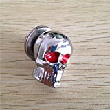 HK MOTO- 2 PCS Chrome Skull Red Eye Bolts Screws Fit For Universal License Plate Tag Frame Windshield Trim Fantastic Replacement