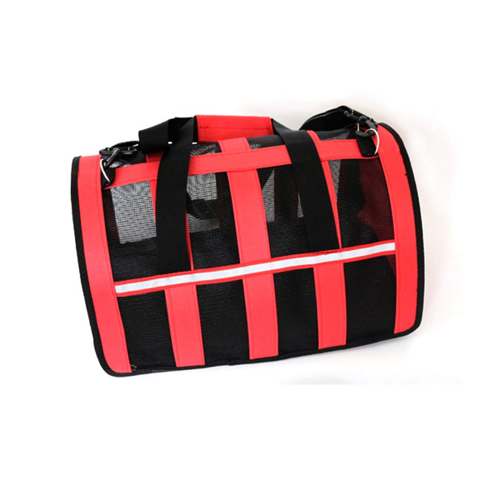 RED M.43x27x26cm RED M.43x27x26cm Pet Backpack Shopping Foldable Bag Outdoor Handbag Tourism Breathable Sunscreen Striped Mesh Oxford Cloth Shoulder Cat