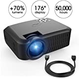 Projector, DBPOWER T22 Upgraded +70% Lumens LCD Mini Portable Projector Support 1080P TV Laptop SD XBOX Amazon Fire TV Stick iPad iPhone Android Smartphone with HDMI Cable for Multimedia Home Theater