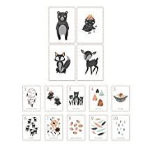 Children's Wall Art Prints, Boho Woodland Animal Room Collection, Set of Four 8x10 Prints and 5x7 Wall Cards, Forest Nursery, Gender Neutral Nursery Decor, Woodland Nursery, Kids Room by Children Inspire Design