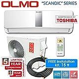 OLMO Ductless Mini Split System 15 Seer, 12K BTU Indoor Plus Outdoor Set, Free Installation Kit, White