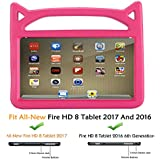 Riaour Case for All-New Fire HD 8 2017,Fire HD 8 Tablet Case - Kids Shock Proof Protective Handle Cover Case for Fire HD 8 Tablet (Compatible with 6th Generation 2016/7th Generation 2017) (Rose)