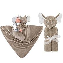 GudeHome Baby Boys Blanket Swaddling Infant Sleeping Bag Bathrobe Towel With Cute Animal Head 76x76cm(Brown Elephant)