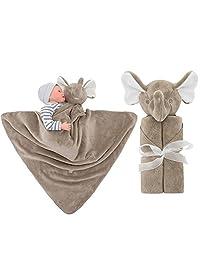 Vine Boys Baby Blanket Infant Sleeping Bag Bathrobe Towel Cute Animal Head Newborn Swaddling 76x76cm(Brown Elephant)