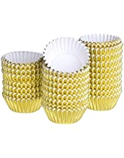ANESTAR 500 Pcs Gold Metallic Foil Cupcake Liners Baking Muffin Paper Cups Cases, Bottom 5cm Dia