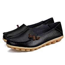 IRuis Women's Genuine Leather Loafers Casual Moccasin Driving Shoes Indoor Flat Slip-on Slippers