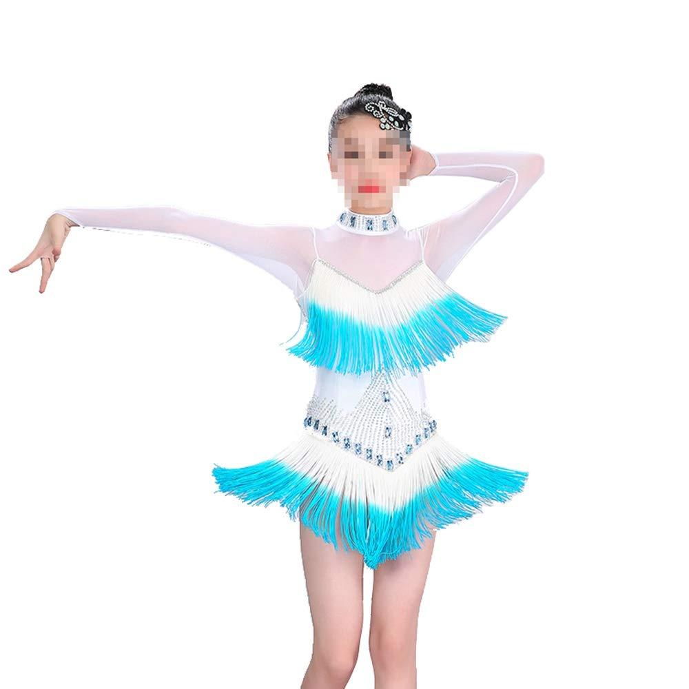 Bleu 130cm Cvbndfe Doux Robe de Danse Samba Latine pour Filles (Couleur   Violet, Taille   150cm)