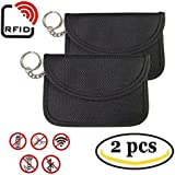 Ansblue RFID Signal Blocking Bag Faraday Cage, Key Fob Signal Blocking Bag Anti-hacking Assurance For Wireless Car Keys, Keyless Entry, Car Key Remotes, Credit Card Protection - 2PCS / Black