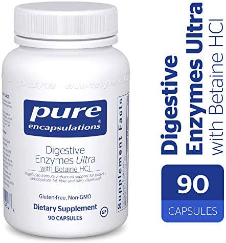 Pure Encapsulations - Digestive Enzymes Ultra with Betaine HCl - Comprehensive Blend of Vegetarian Digestive Enzymes with Betaine HCl - 90 Capsules