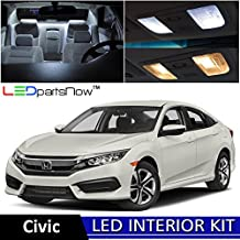 LEDpartsNOW Honda Civic 2013-2016 Xenon White Premium LED Interior Lights Package Kit (6 Pieces) + TOOL